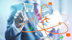 Online shopping concept man selecting shopping cart