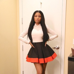 nicki-minaj-instagram-valentino-tri-color-crepe-dress